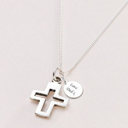 Silver Cross Necklace with Engraving